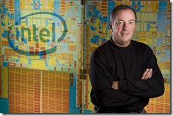 Recognizing the 60th anniversary of the transistor - a key component in a microprocessor - Intel President and Chief Executive Officer Paul Otellini displays the projected size of today's Intel® 45nm processors if the transistors were identical to those in Intel's first product in 1971.  Intel's innovations in transistor design ensure PCs and mobile devices are smaller, faster and more energy-efficient than ever.   