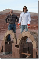 Host Basil Singer builds a Martian home as seen on the Mars episode of Space Pioneer.