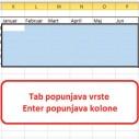 Popunjavanje grupe polja u Excelu
