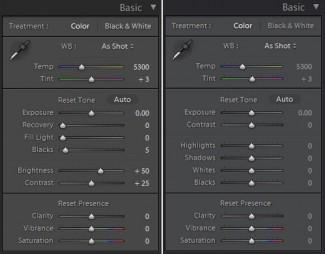 Poređenje Basic panela verzija 3.6 i 4 (beta). Uočićete odmah da su (za neobrađene fotografije) svi slajderi poravnati po nuli. To je posledica većeg broja korisničkih primedbi da je poželjno uravnati nulte pozicije kako bi se ujednačili suštinski i vizuelni efekti kontrola i lakše pratilo stanje njihovih promena