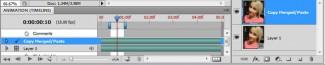 Trenutak u kome, pozicionirani na gornjem master sloju, izvršavamo komandu Flatten Frames Into Layers. Oba sloja su aktivna (vidljiva)