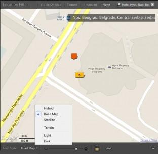 U redu ispod mape moguće je izabrati tip mape – Hybrid, Road Map, Satellite, Terrian, Light i Dark, skalirati je i učitavati Tracklog fajl sa gpx ekstenzijom