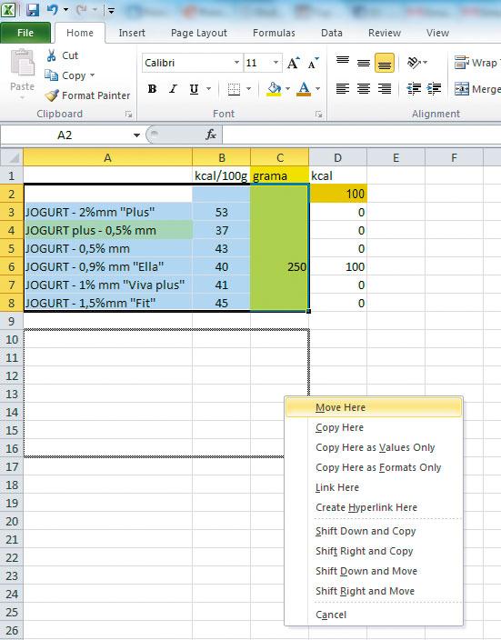 Excel-Kontekstni-meni-prevlacenja-selekcije