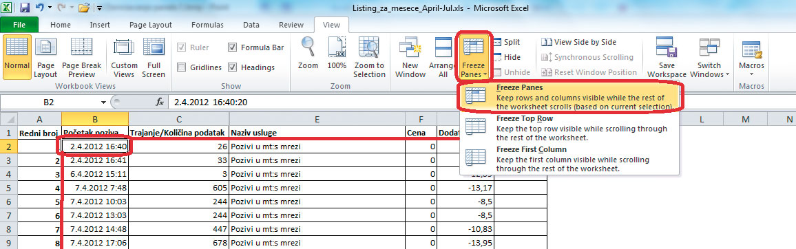 Excel-Zamrzavanje-panela-2