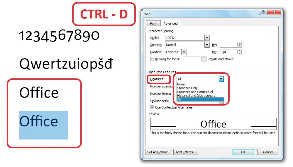 Word-OpenType-ligature