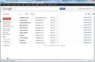 Adresar korisnika  uvezen u Gmail