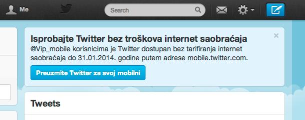 Twitter obaveštenje