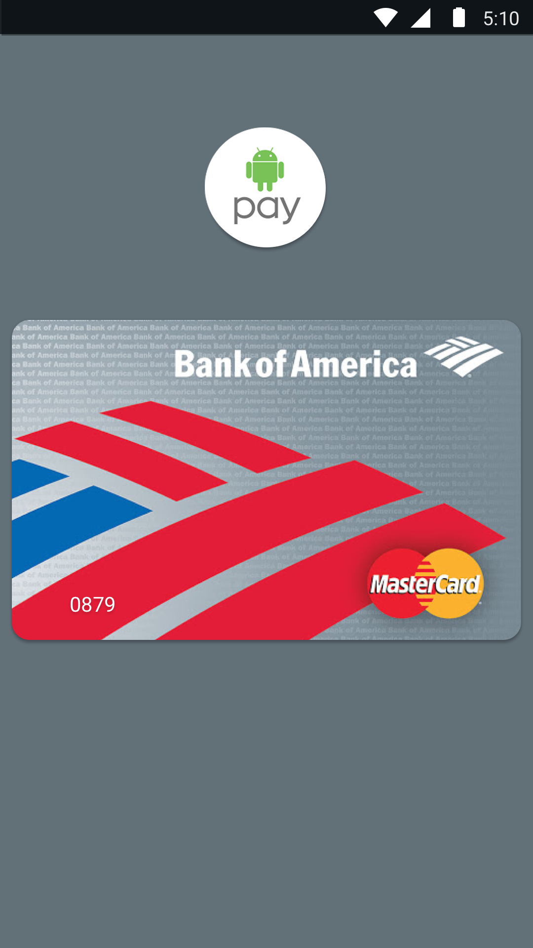 MasterCard Bank of America Android Pay
