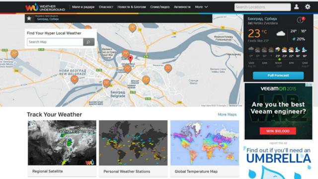 Weather Underground vremenska prognoza sajtovi