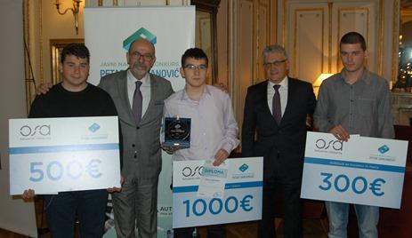 Dobitnici nagrade sa osnivacima OSA Racunarskog inzenjeringa Zeljkom Tomicem i Borisom Damjanovi