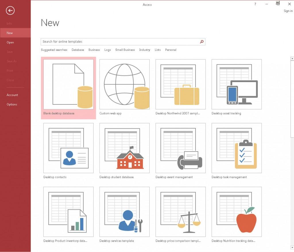 Početni ekran Access‑a: izbor baze ili predloška