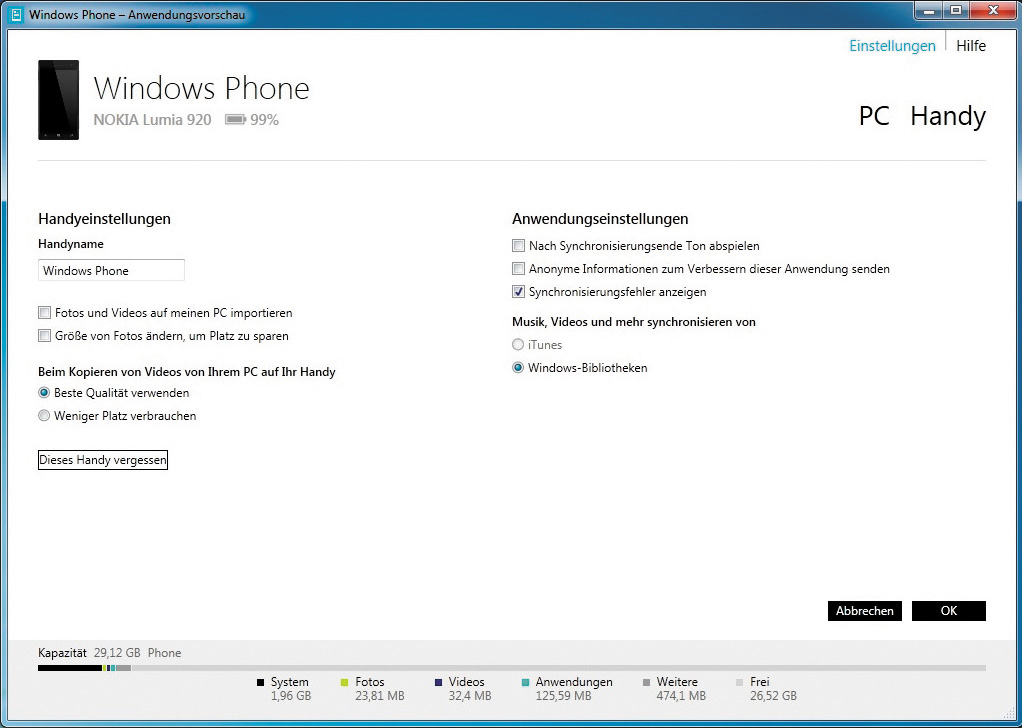 Prethodnici: Pod Windows-om 7 i 8 za prenošenje podataka može se koristiti aplikacija Windows Phone Desktop