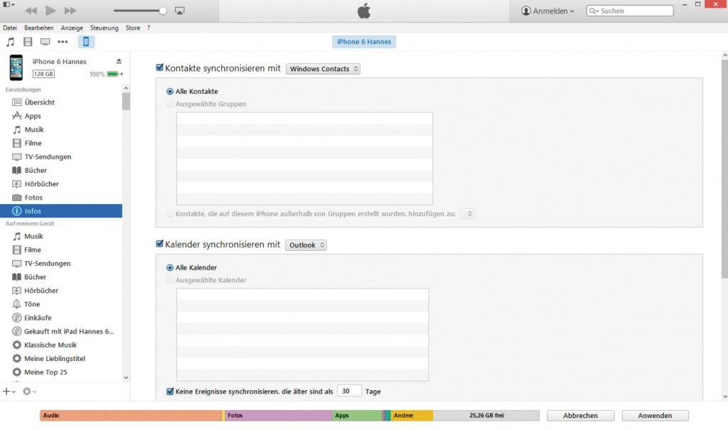 Ograničen izbor: od iTunes-a 12, u polju Infos dostupne su samo opcije Windows System Tools i Microsoft Outlook