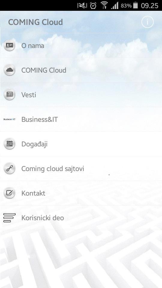 Početni ekran aplikacije