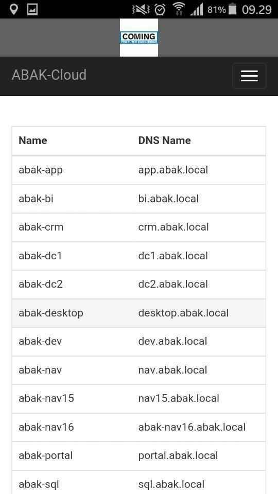 Nakon uspešnog logovanja, u zavisnosti od uloge koja mu je dodeljena, korisnik može da dobije spisak svojih servera koje koristi u cloud infrastrukturi, ili stanje pojedinačnog servera