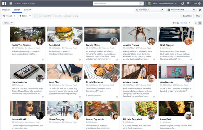 Facebook Brand Collabs Manager Search