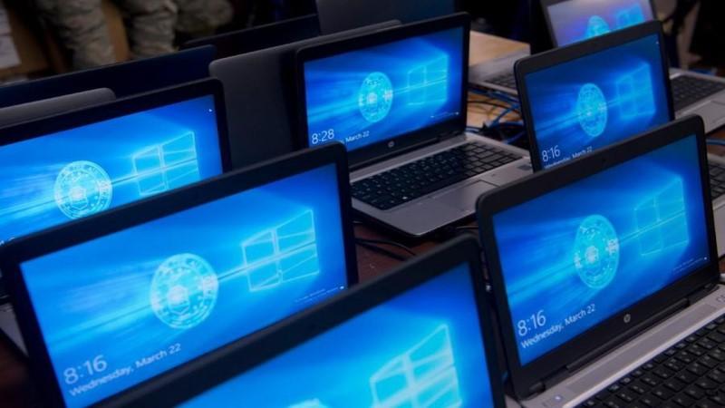 Microsoft wallpaper on screens